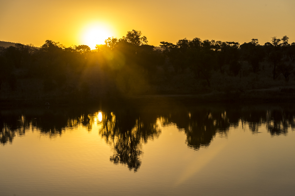 Golden sunset reflected off a watering hole in the Mabula game reserve