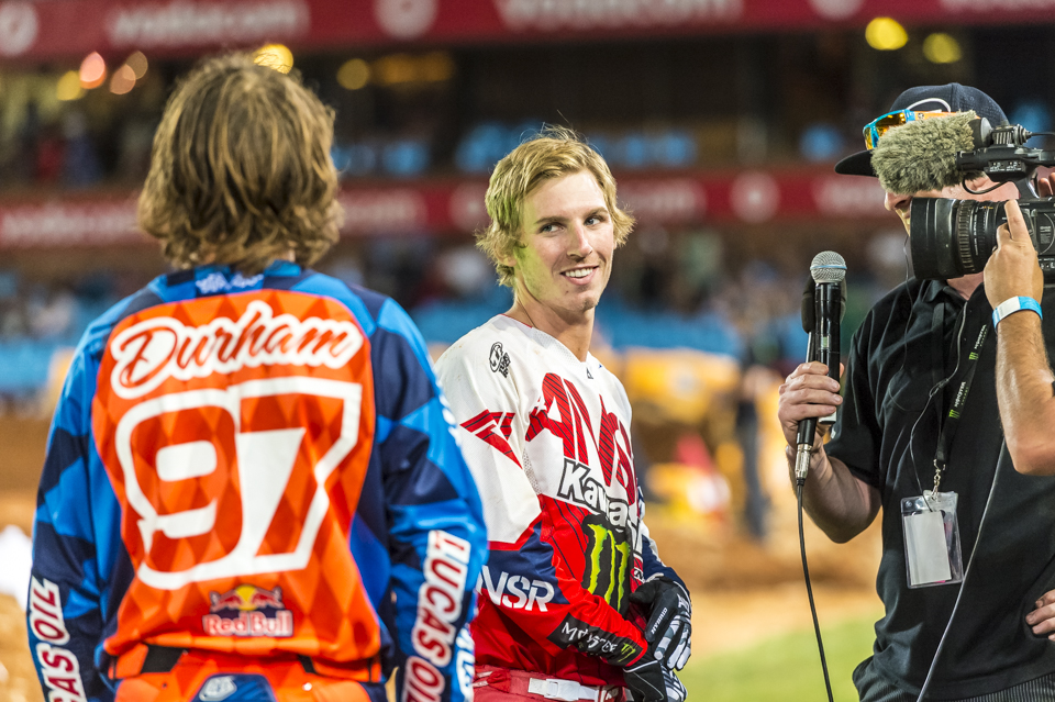 Darryl Durham and Jake Weimer sharing a moment at the 2014 Supercross in Pretoria